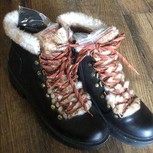 American Eagle Fur Combat Boots 8
